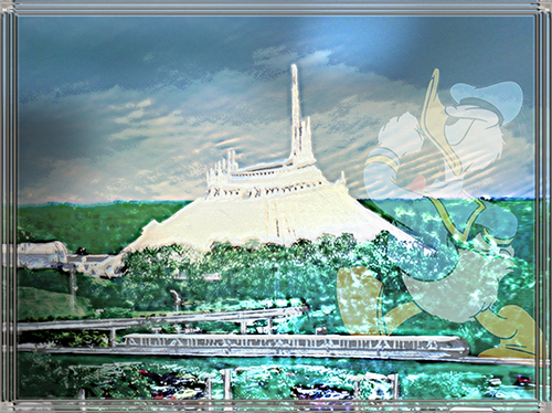 composite, Disney's Space Mountain, faint overlay of Donald Duck