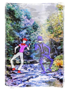 cartoon men on creek in Catskills