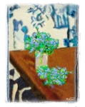 jpg of Matiisse painting of kitchen table w/glass, blue rue replacing other flowers