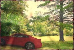 jpg., composite, red car parked in shadows